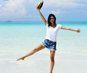beach, denim shorts, and love image