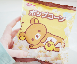 rilakkuma, kawaii, and popcorn image