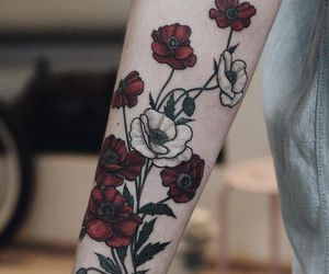tattoo, flowers, and red image