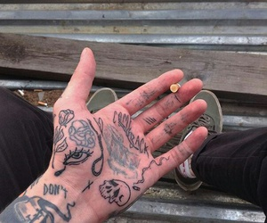 tattoo, cigarette, and hand image