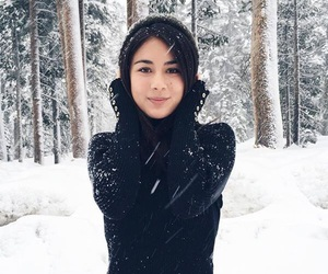 black, cold weather, and snow girl image