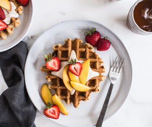 delicious, waffles, and dessert image