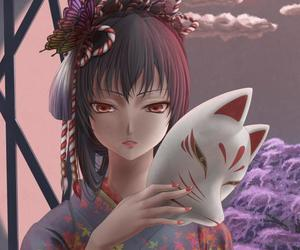 anime, butterfly, and cherry tree image