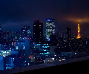 city, lit, and night image