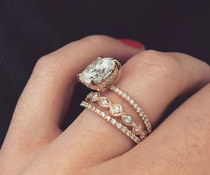 diamond, engagement, and gold image