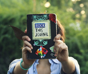 journal, rock, and book image