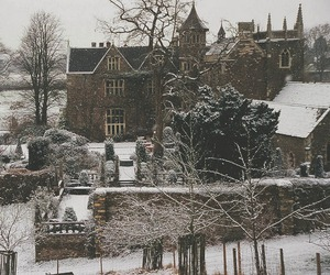 snow, castle, and nature image