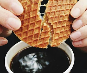 food, coffee, and waffle image
