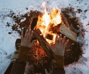 snow, fire, and winter image