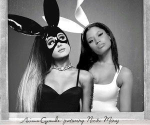 nicki minaj, ariana grande, and black and white image