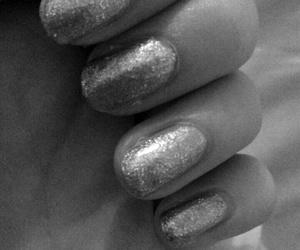 black&white, glitter, and nails image