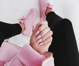 pink, nails, and nike image