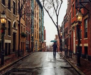 city, autumn, and rain image