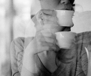 black and white, coffee, and girl image