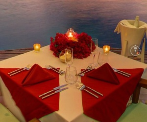 couple, dinner, and Maldives image