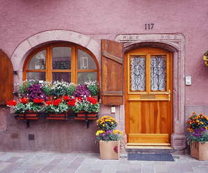 flowers, house, and pink image
