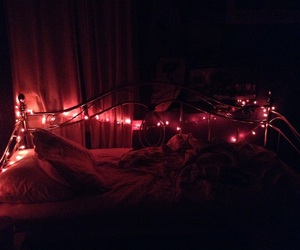 bed, christmas, and christmas lights image