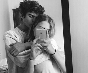 black and white, cute couples, and kiss image