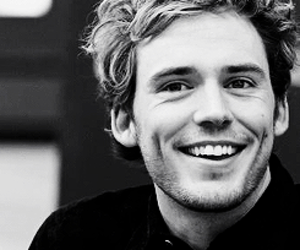 sam claflin, boy, and black and white image