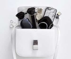bag, white, and sunglasses image