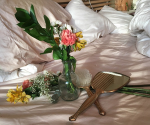 flowers, aesthetic, and bed image