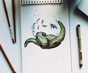 art, animal, and turtle image