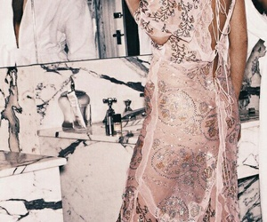 pink, dress, and rose gold image