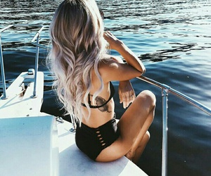 boat, travelling, and girl image