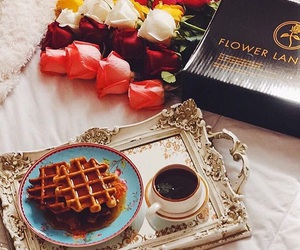 coffe, rose, and waffles image