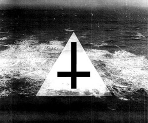 cross, black and white, and triangle image