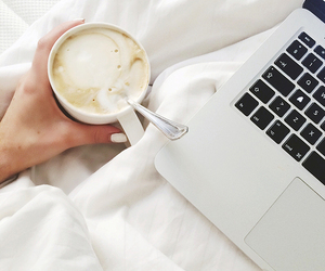 coffee, bed, and laptop image