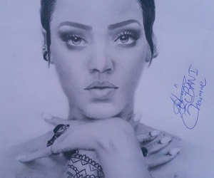 black and white, riri, and rihanna image