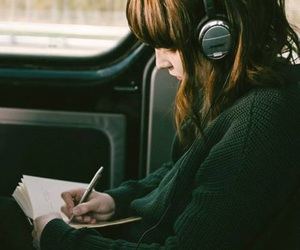 book, music, and girl image
