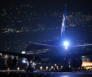 night, light, and airplane image