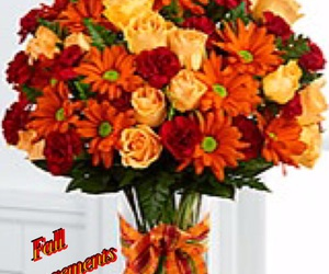 arrangements, fall, and flowers image