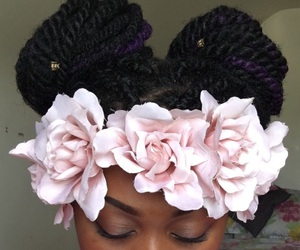 braids, eyelashes, and flower crown image