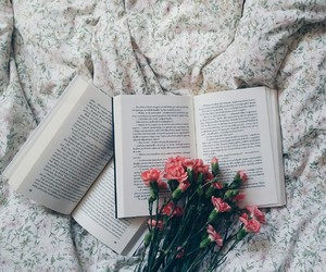 book, flowers, and girl image