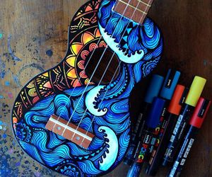 art, guitar, and markers image