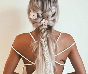 blonde, flowers, and hairstyles image