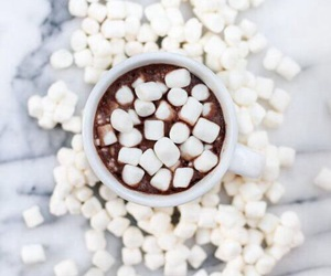 marshmallow, chocolate, and food image