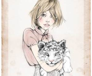 tiger, blonde, and drawing image