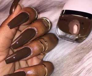 nails, brown, and glam image