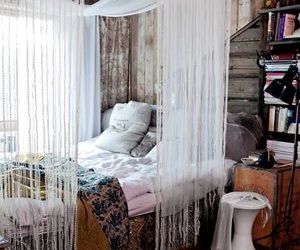 bed, boho, and shabby chic image