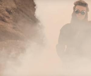bonfire, desert, and fog image