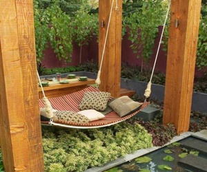 modern, outdoor, and swing bed image