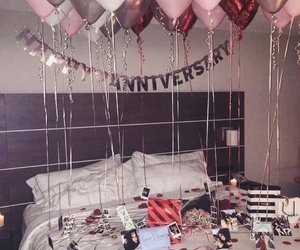 balloons, anniversary, and couple image