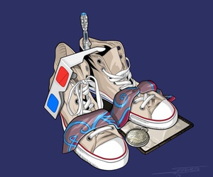 3d glasses, art, and converse image