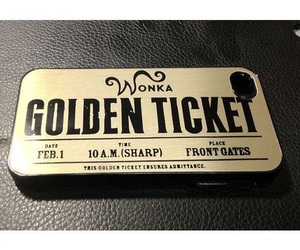 Willy Wonka, golden ticket, and phone case image