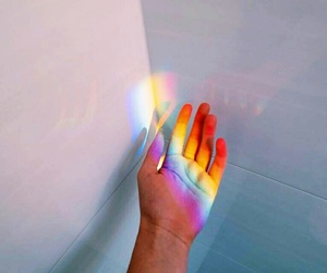 rainbow, hand, and article image