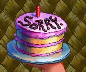 cake, sorry, and spongebob image